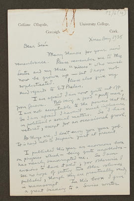 Letter from Alfred O'Rahilly to Seán Lester, p0001