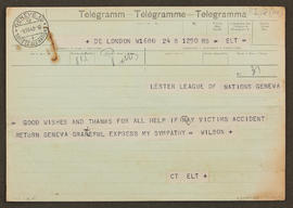 Telegram from [?] Wilson to Seán Lester, p0001