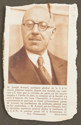 Press cutting on Joseph Avenol, p0001