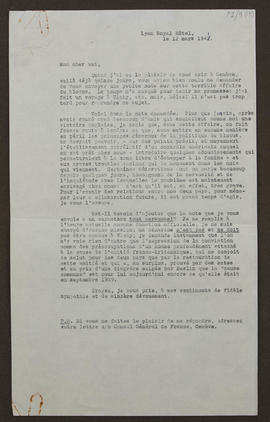 Letter from [?René Massigli], Consulate General of France in Geneva, Switzerland to Seán Lester, ...