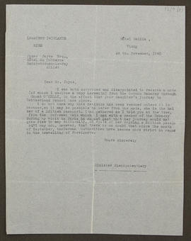 Letter from the Minister of Plenipotentiary [?Gerald Edward O'Kelly de Gallagh et Tycooly], Irish...