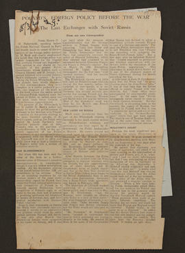 Press cutting 'Poland's Foreign Policy Before the War, the Last Exchanges with Soviet Russia, p0001