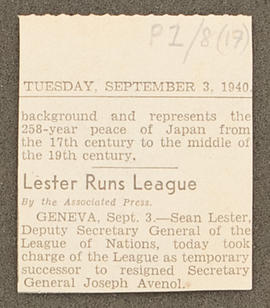 Press cutting 'Lester runs League', p0001