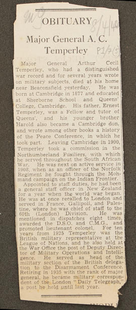 Newspaper cutting from Diary: August 1939 - April 1940, p0001