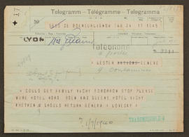 Telegram from Alexander Loveday to Seán Lester
